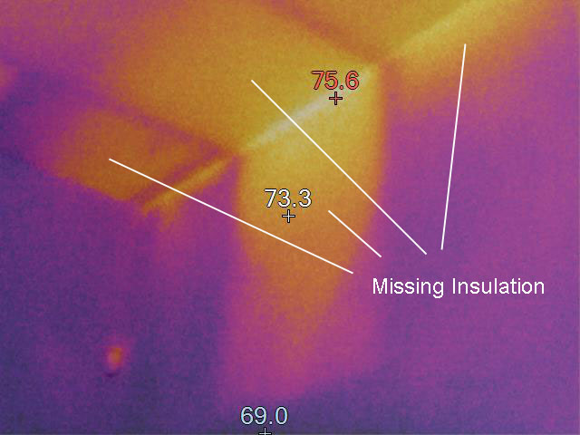 Thermal image of missing insulation