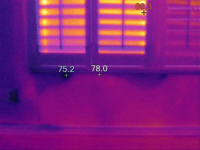 Thermal image of leak under window