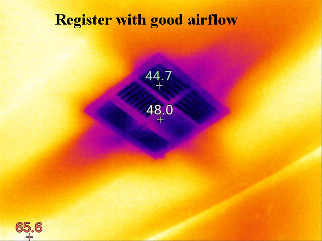 thermal image of excellent airflow from hvac register