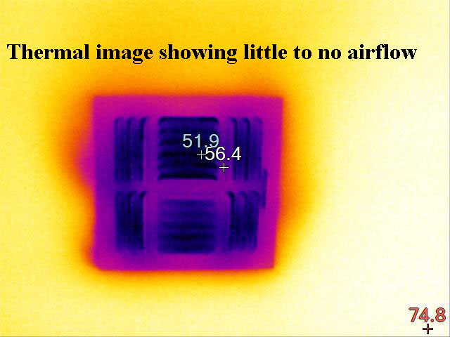 thermal image of poor airflow from hvac register